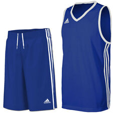 adidas Boy's Commander Basketball Jersey Vest & Long Shorts Set - Blue & White