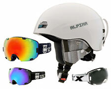 Alpina Menga Skihelm Snowboard weiss matt mit TWO-X Air Skibrille Brille