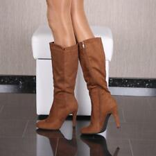 SEXY DAMEN-STIEFEL IN WILDLEDER-OPTIK SCHUHE HIGH HEELS CAMEL #BM-9012