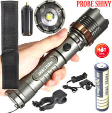 Tactical Flashlight 5000LM XM-L T6 LED Zoomable Focus Torch Lamp+Battery+Charger