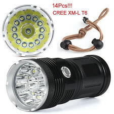 34000LM Flashlight Torch 14x CREE XM-L T6 LED 4x 18650 Hunting Bright Light Lamp