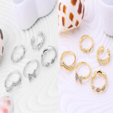 5pcs Crystal Bow Heart Stack Above Knuckle Band Midi Finger Ring Jewelry Gift
