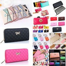 Women Portable Clutch Leather Long Handbag Ladies Bowknot Wallet Coin Long Purse