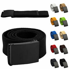 Mens Womens Unisex Cotton Canvas Fabric Webbing Black Buckle Belt Army Style