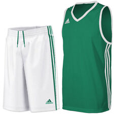 adidas Boy's Commander Basketball Kit Jersey & Long Shorts Team PE Green-White