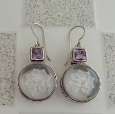 Gemstone Solid Silver, 925 Bali Handcrafted Crystal Design Earring 35089