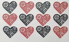 Floral Heart Die Cut Shapes - Assorted sets of 12, Valentines, Weddings, Cards