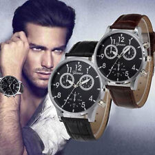 Men's Tachymeter Chronograph Designer Watch with Crocodile Effect Leather Strap!
