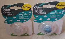 Tommee Tippee Closer to Nature Orthodontic Soothers x 2  0 - 6 Mths Bpa Free New