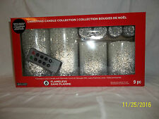 9 PIECE SET FLAMLESS LED CANDLES WITH REMOTE CONTROL -- WHITE & SILVER