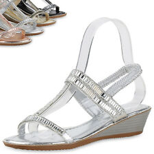 Damen Sandaletten Keilabsatz Strass Metallic Wedges Schuhe 815550 Top