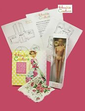 HANKIE COUTURE STARTER KIT LONG HAIR BLOND DOLL, BOOK, PATTERNS & VINTAGE HANKIE