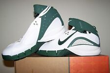 Women's New Nike Zoom Air Huarache Excel White Basketball Shoes with Green Trim