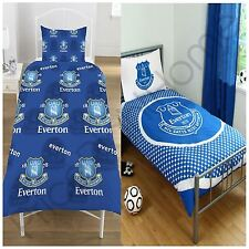 EVERTON FC SINGLE DUVET COVER SET BLUE WHITE CREST FOOTBALL BOYS MENS BEDDING