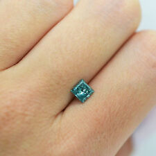 0.85 Carat Princess Fancy Blue SI3 Loose Enhanced Diamond For Engagement Ring