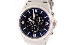 Men's Citizen JR3180-57L Eco-Drive Stainless Steel Blue Dial Chronograph Watch
