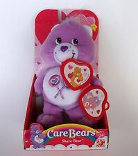 New Care Bears Purple Share Bear with Heart Locket Valentines 2004 NIB