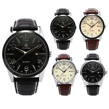ORKINA Mens Fashion Date Leather Stainless Steel Quartz Analog Sport Wrist Watch