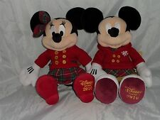 Disney Mickey Mouse / Minnie Mouse Festive Winter Soft Plush Toy Dated 2016 Rare