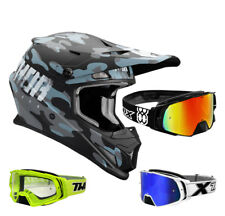 THOR SECTOR Covert CASCO CROSS Casco Motocross Negro Azul two-x Cohete MX Gafas