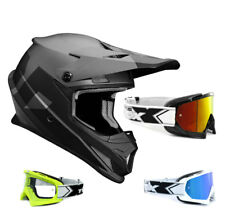 THOR SECTOR Nivel CASCO CROSS Motocross Negro Gris two-x RACE Gafas de