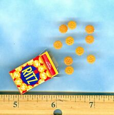 Dollhouse Miniature size an Open Buttery Snack Crackers box & 10 Loose Crackers