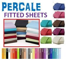 FITTED SHEET PERCALE NON IRON SINGLE DOUBLE KING SUPER KING 4FT SMALL PILLOWCASE