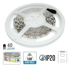 TIRA 5MTS. LED 9.6W/MTS. IP20 12V DC SMD5050 60LED/M BLANCO FRIO NEUTRO CALIDO