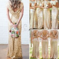 Bridesmaid Formal Sequin Long Women Dress Prom Evening Party Cocktail Wedding