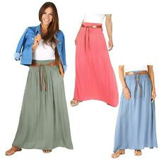 Womens Ladies Boho Hippie Tie Belted Light Cotton Pleated Summer Long Maxi Skirt