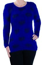 Womens Multicolor Scoop Neck Long Sleeve Hip Length Jumper Sweater Pullover