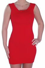 Womens Scoop Neck Sleeveless Plain Casual Skinny Fit Stretch Bodycon Mini Dress