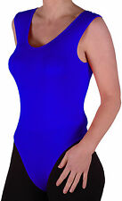 Womens Sleeveless Scoop Neck Plain Leotard Blouse Stretch Skinny Fit Casual Tops