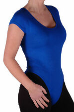 Womens Short Sleeve Scoop Neck Plain Body Leotard Blouse Stretch Fit Casual Tops