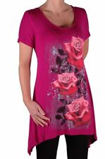 Womens Short Sleeve Scoop Neck Casual Floral Print Plus Size Blouse Tunic Top