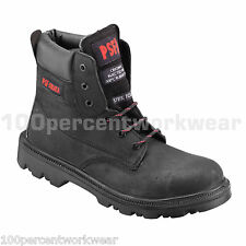 PSF Strata 522SM Black Leather Safety Work Boots Shoes Steel Toe Water Resistant