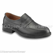 PSF Executive S55 Mens Safety Black Leather Work Slip On Shoes Steel Toe Cap New