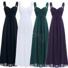 Women Formal Long Chiffon Pleated Bridesmaid Evening Prom Ball Gown Party Dress