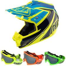 Troy Lee Designs SE3 NETTUNO Casco da motocross giallo + maschere MX ENDURO Quad