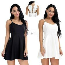 Sexy Women's Plunge V-neck Angel Wings Backless Skater Evening Party Mini Dress
