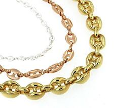 Chain Marina Necklace Gold Doublé Yellow Or Rose Or Gold Plated Men's Jewellery