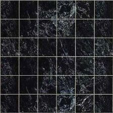 Dollhouse Kitchen/Bathroom/Foyer Black Marble Tile Paper Flooring #MH5956