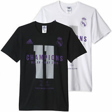 Adidas Uomo Real Madrid UCL WINNER T SHIRT COTONE CALCIO casual estivo