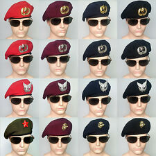 Adjustable Ventilate Unisex Army Beret Cap Hat With Multi Badges Millitary Fan