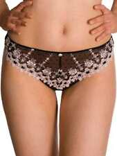 New Black & Peach Lace Tanga Thong sexy sheer front knickers pants KEIA Jessica