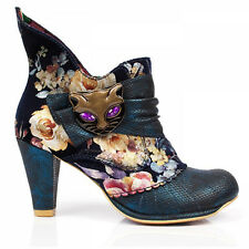 Irregular Choice Miaow Vintage Blue Floral Vintage High Heel Cat Ankle Boots