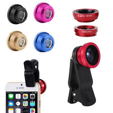 180° Clip On Fish Eye Lens Wide Angle Macro Camera Lens Kit For Phone Tablet BU