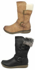 Womens Cats Eyes Leather Look Mid Calf Winter Boots Black Brown Size 3 4 5 6 7 8
