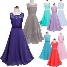 Girls Flower Lace Bridesmaid Party Princess Prom Wedding Christening Dress 4-14