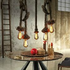Retro Industrial Vintage Pendant Hanging Ceiling Lights Hemp Rope Lamp Decor BM
